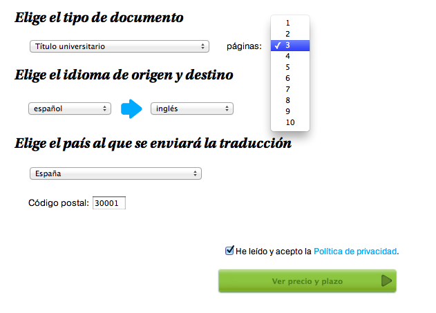 Traducción jurada de tres páginas, pedido online